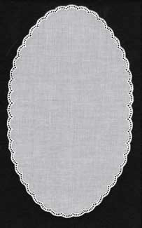 Cotton White Oval Doilies Curved 11.25in x 8.25in